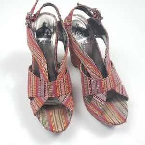 Crown Vintage Multi color fabric upper wedges